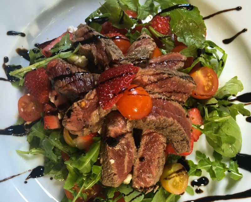 Strawberry Tomato Steak Breakfast Salad