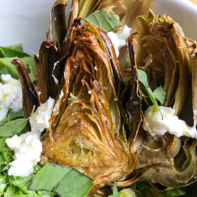 Roasted Artichoke Salad with Goat Cheese and Micro Greens