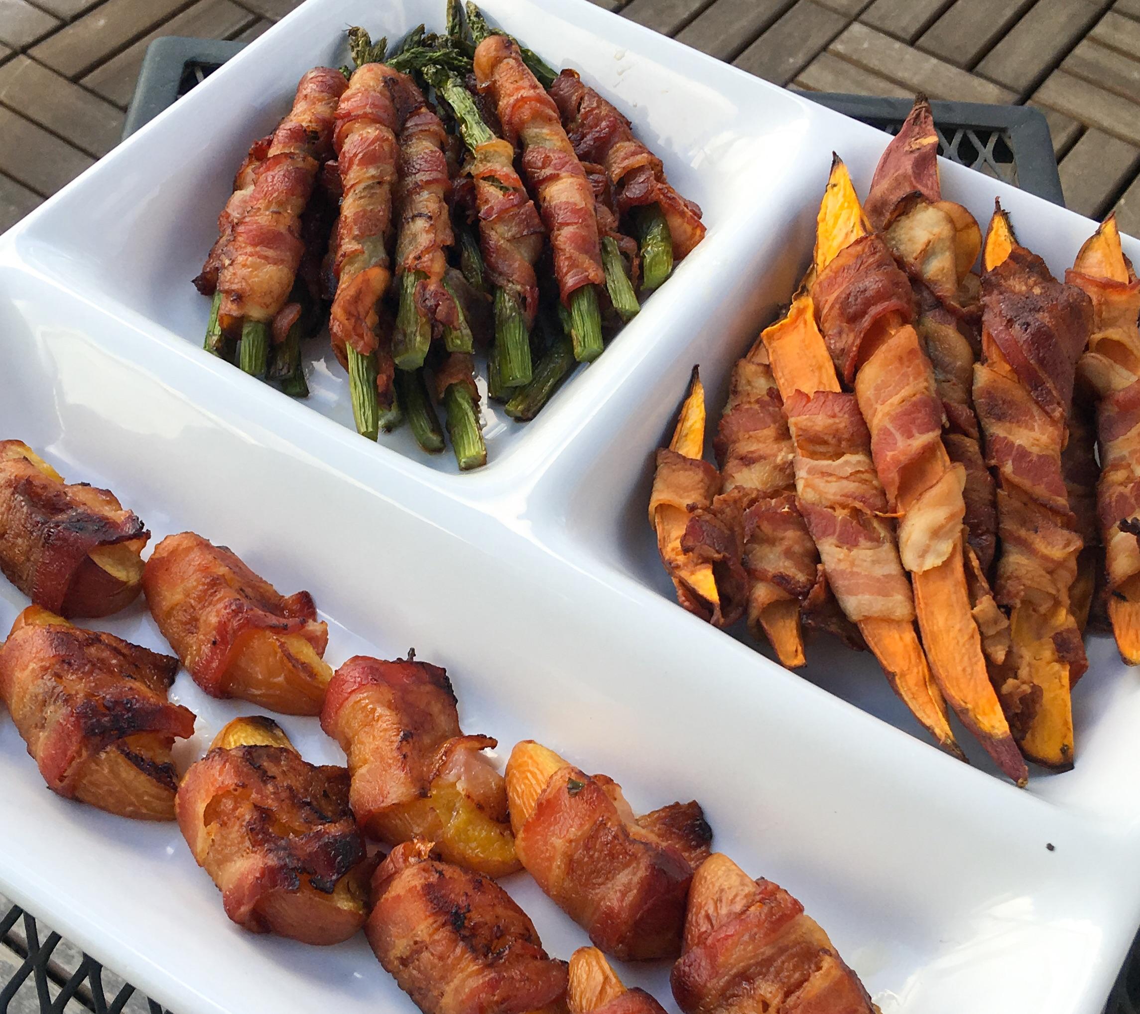 Bacon Wrapped Bites, Sweet Potato, Asparagus & Peach