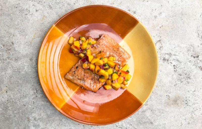 Honey Glazed Salmon with Peach Salsa