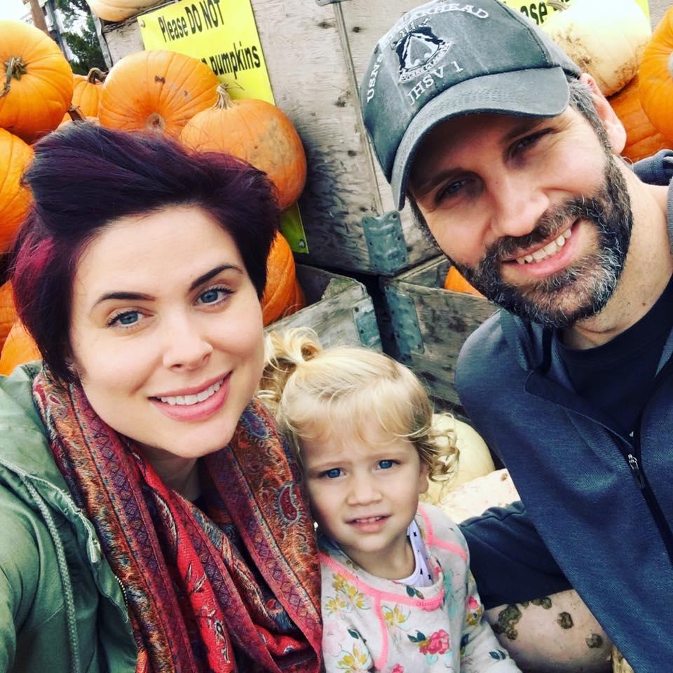 Sam with husband, Dave, & daughter, Stella