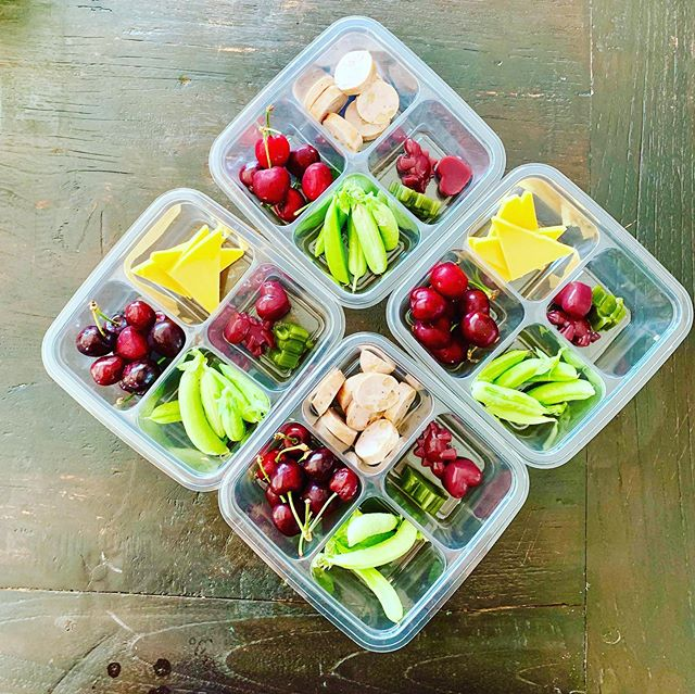 Market fare tomorrow! Kids Bento Boxes with @oakrose_farm snap peas, local cherries and our famous fruit gummies. . Our secret Curry Chicken on local greens with celery and parsley flowers from our gardens.. . And finally, a cheese plate complete with local cheeses, asparagus, radishes, local cherries, walnuts and olives. . Can't wait to share our market fare!