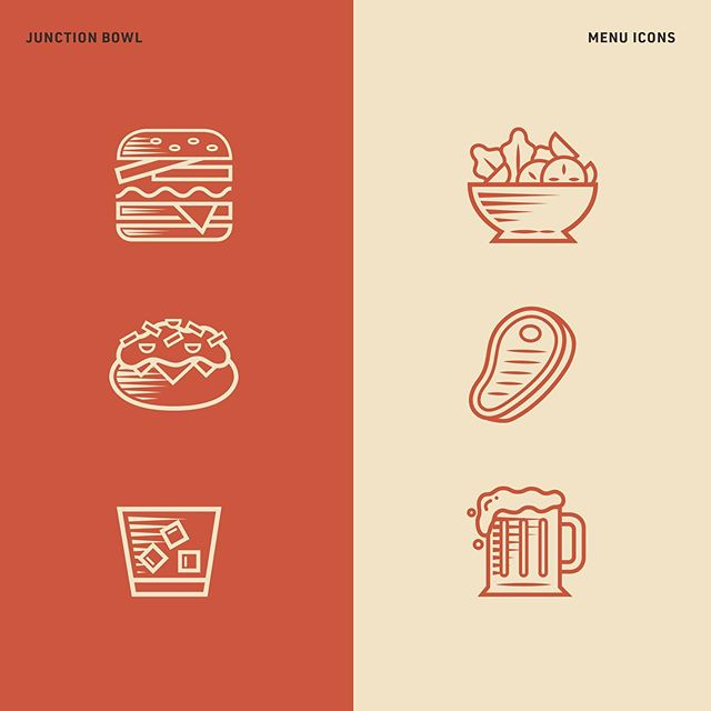 Icon design for sections of Junction Bowl's menu. There is nothing I love more than a 🍺🍔🎳 combo. . . . #badgedesign #dribbble #behance #graphicdesign #vector #webdesign #logo #symbol #branding #flatdesign #creative #graphics #pixel #art #illustrator #adobe #design #typography #goodtype #graphicdesigner #graphicgang #thedesigntip #icondesign @badgedesign #logodesign