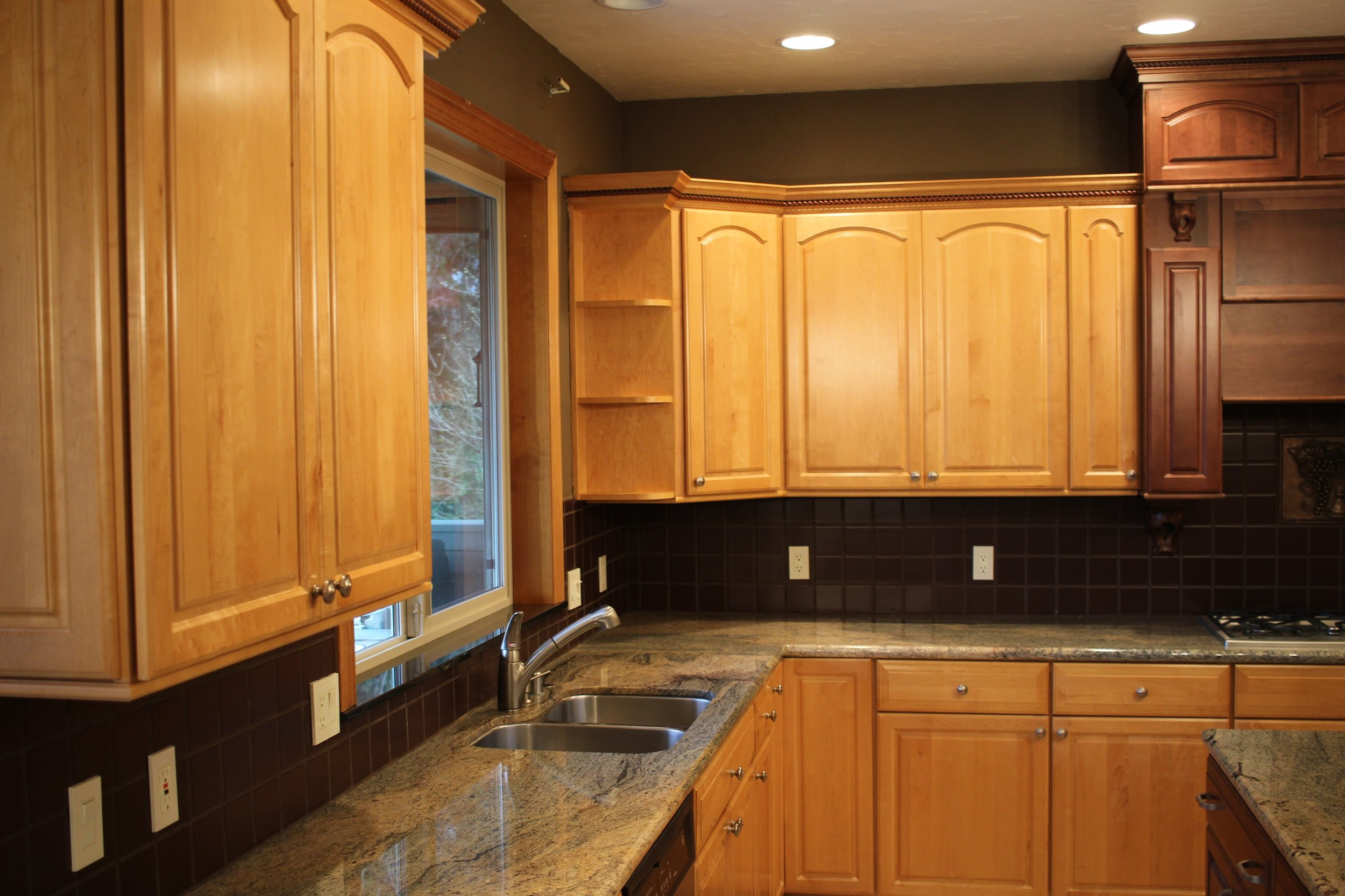 Before - High quality cabinets with an outdated look.