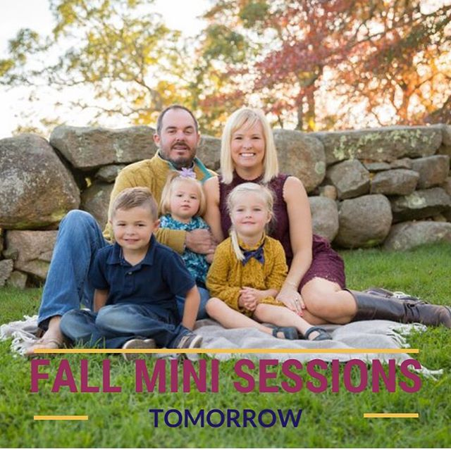 TOMORROW -  Your last chance for 2019 Fall Mini Sessions in North Falmouth! Sign up link in bio. #capecodphotographer #familyphotographer #familyportrait #fall #capecod #familyphotos #childrensphotographer