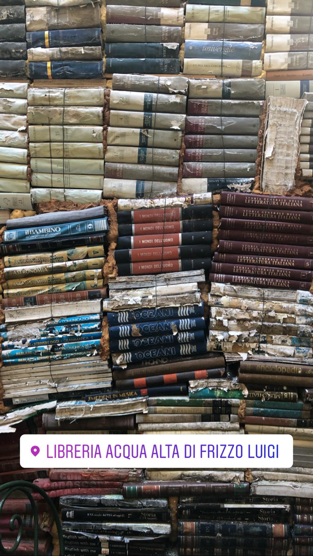 Water damaged books at Acqua Alta