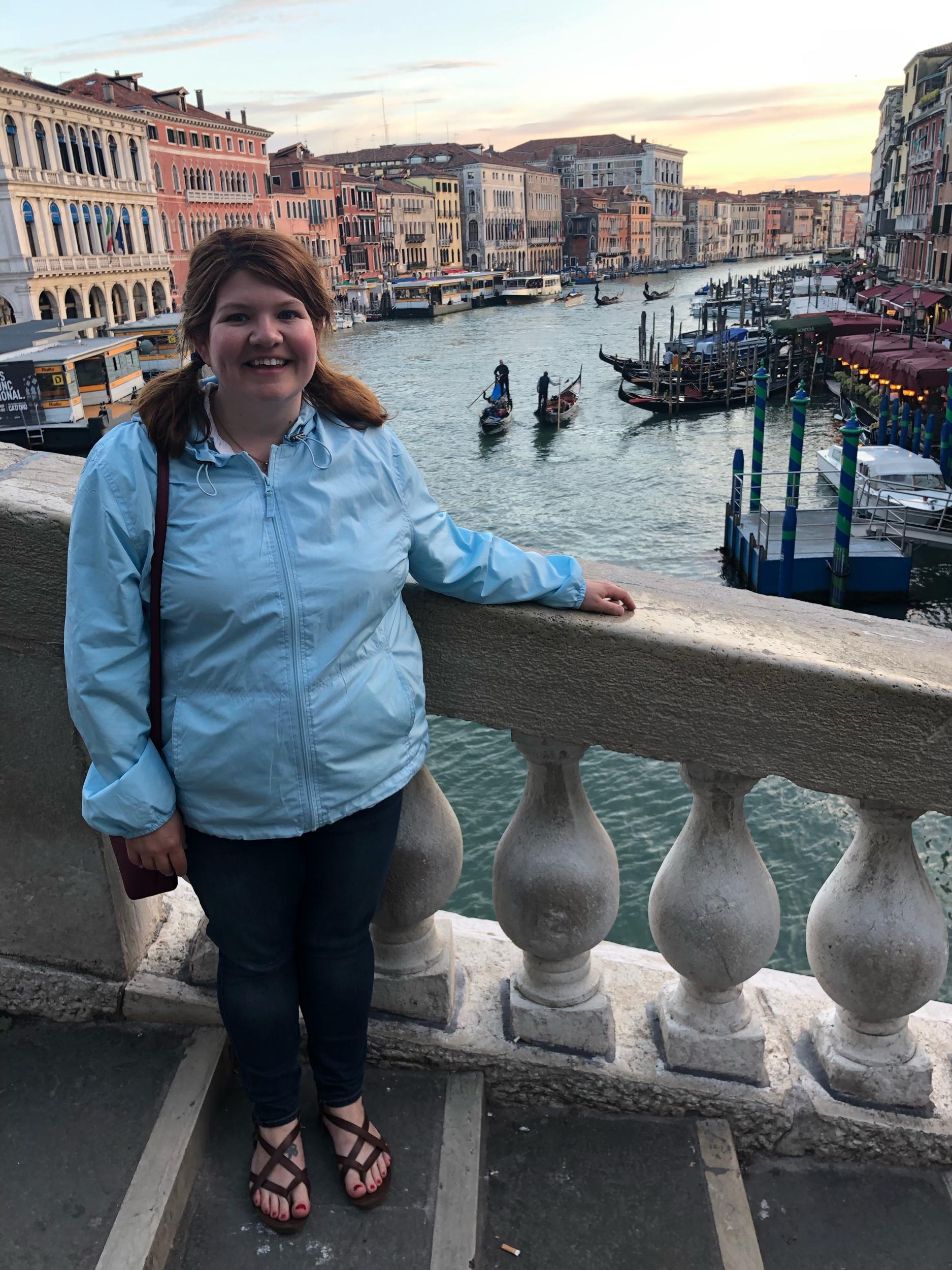 Hayley on the Rialto Bridge in Venice