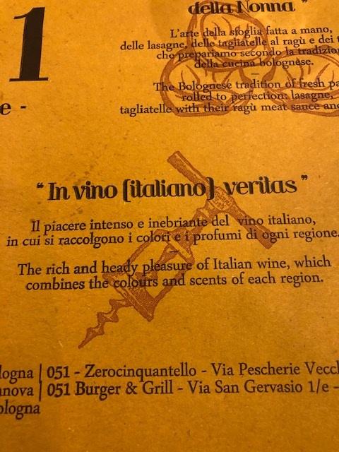 """""""In wine (Italian) we trust"""""""