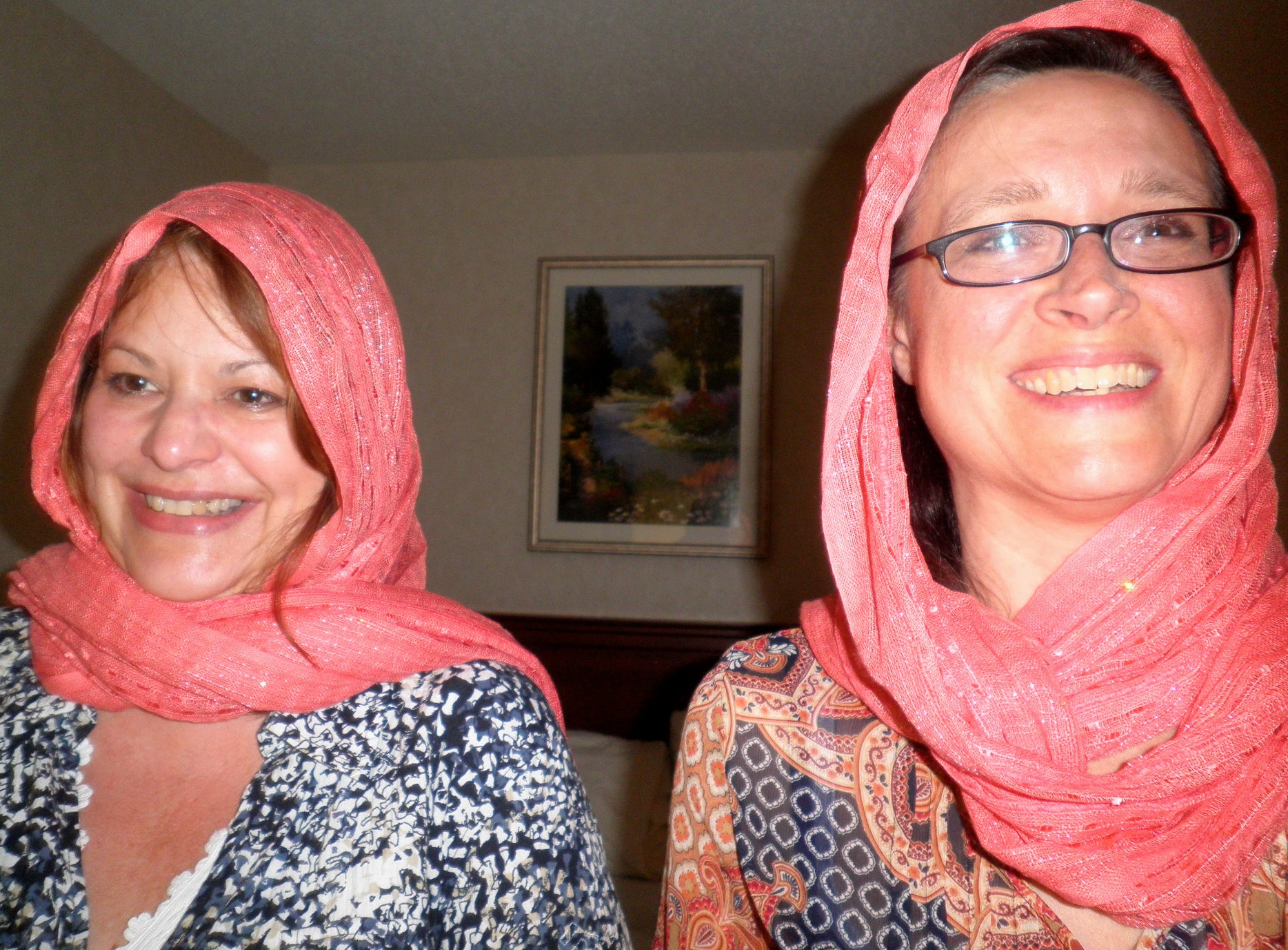 This is a picture of us, after a shopping trip where we bought the same scarf. Silly girls at heart!