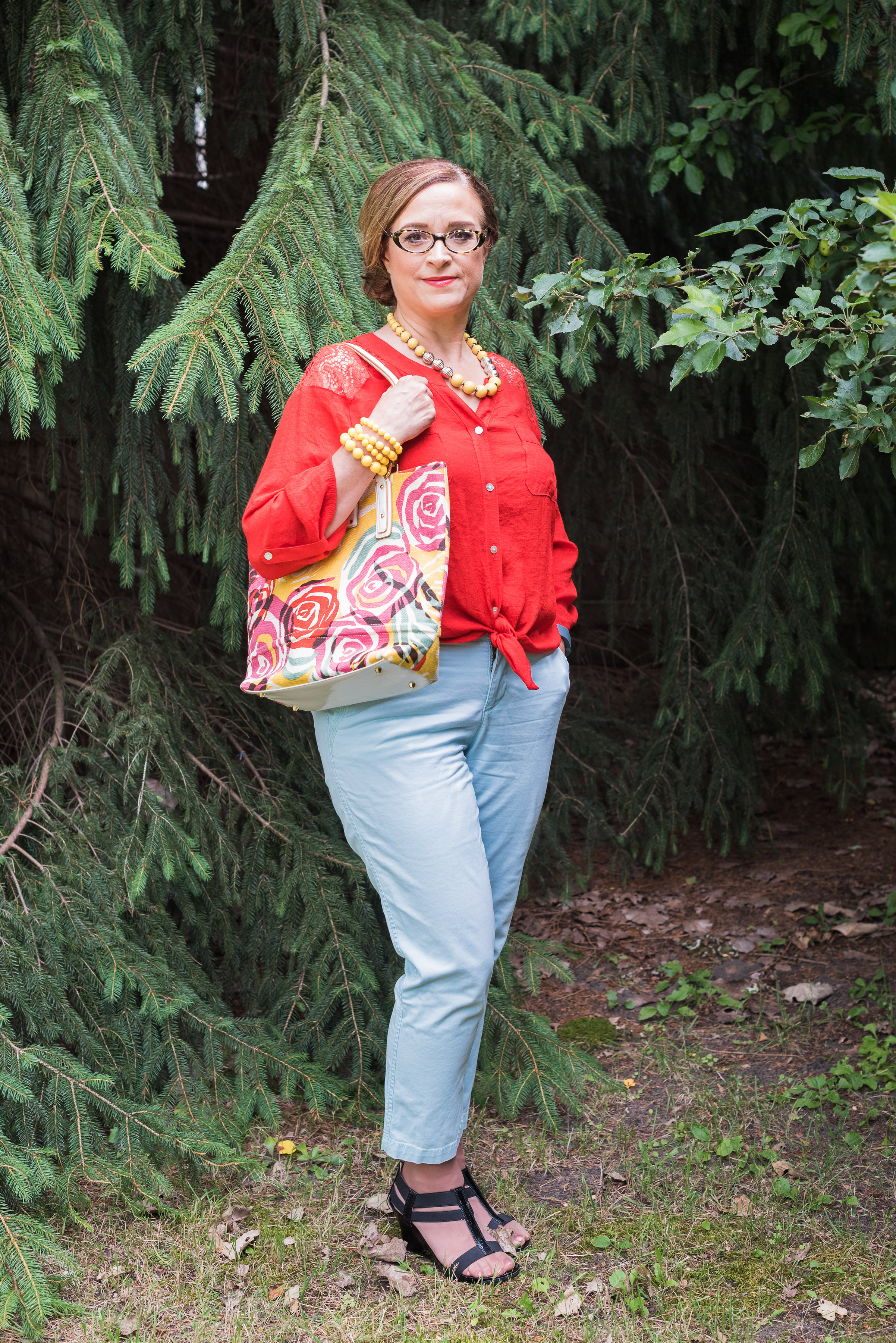 floral bag outfit