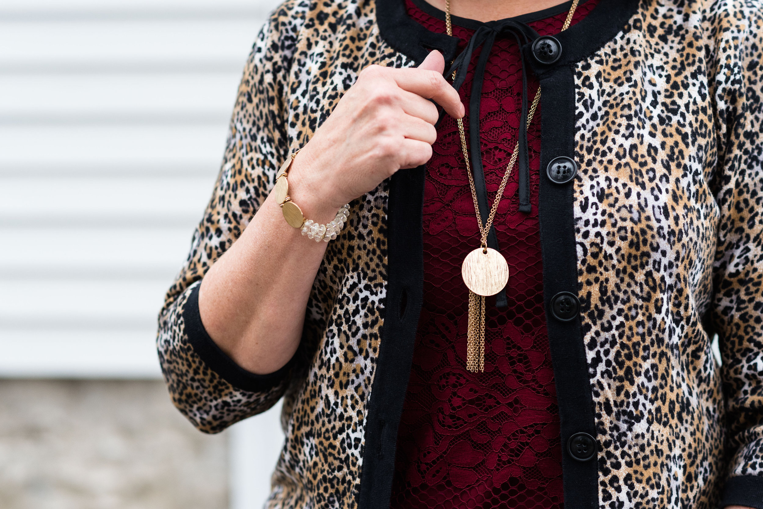 winter outfit - leopard print with maroon/burgundy