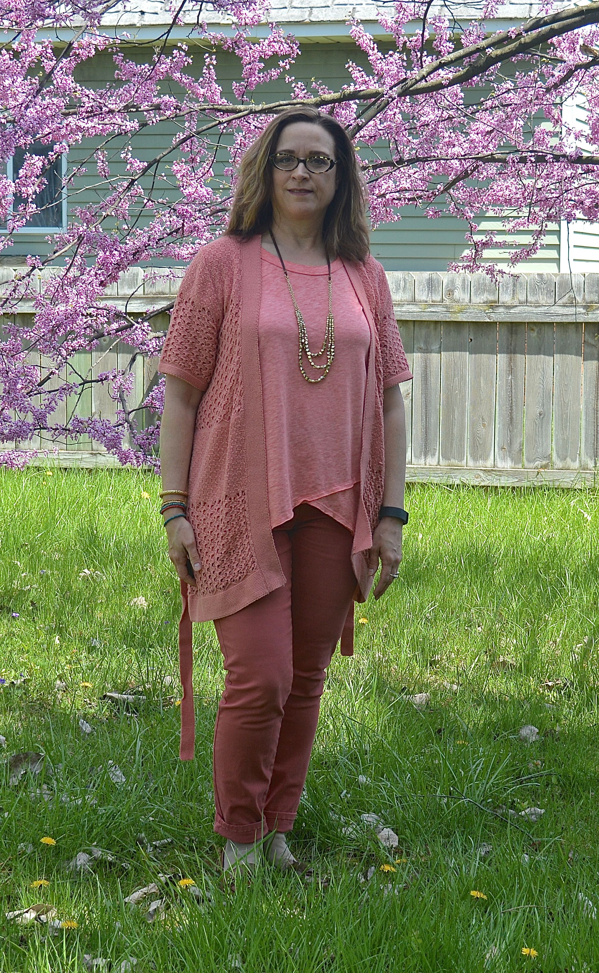 monochrome outfit - coral