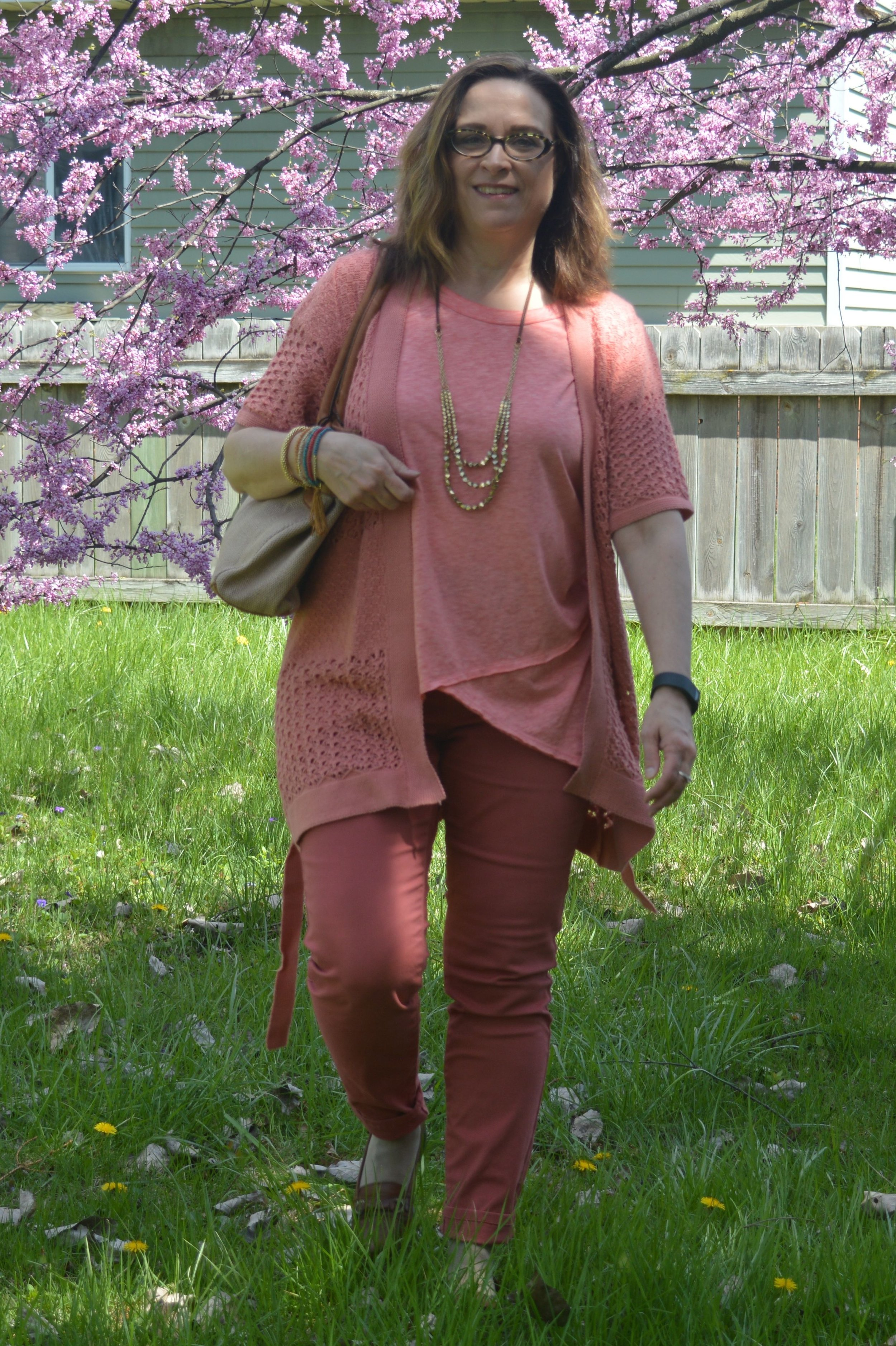 monochromatic outfit - coral