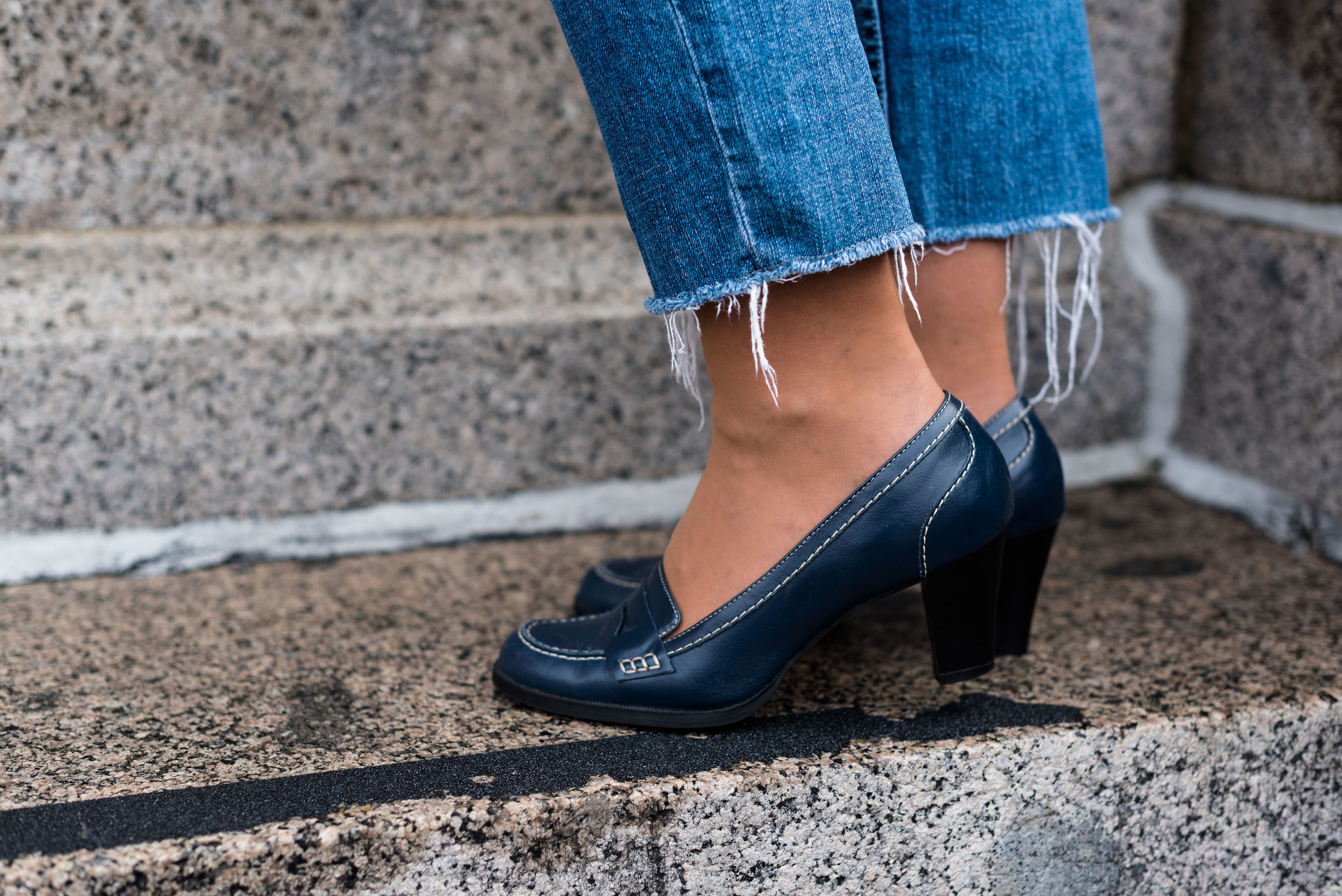 navy loafer heels