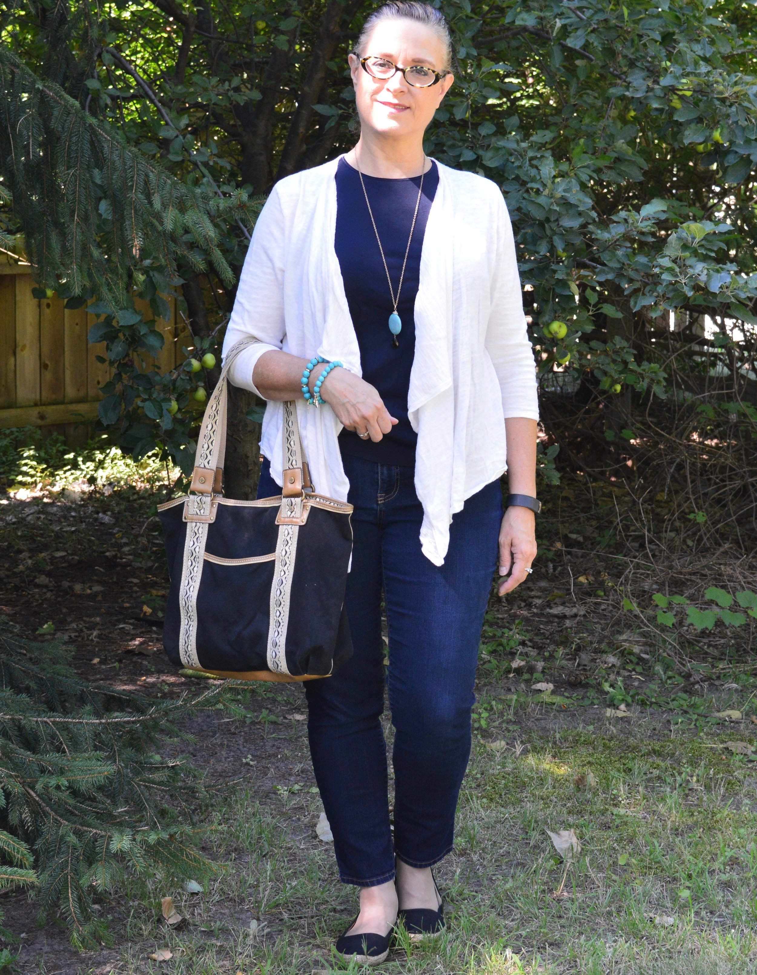 Wearing sweaters in the summer - cream waterfall cardi