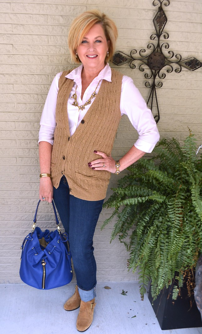 Tania Stephens - 50 is not Old - Cable knit sweater vest