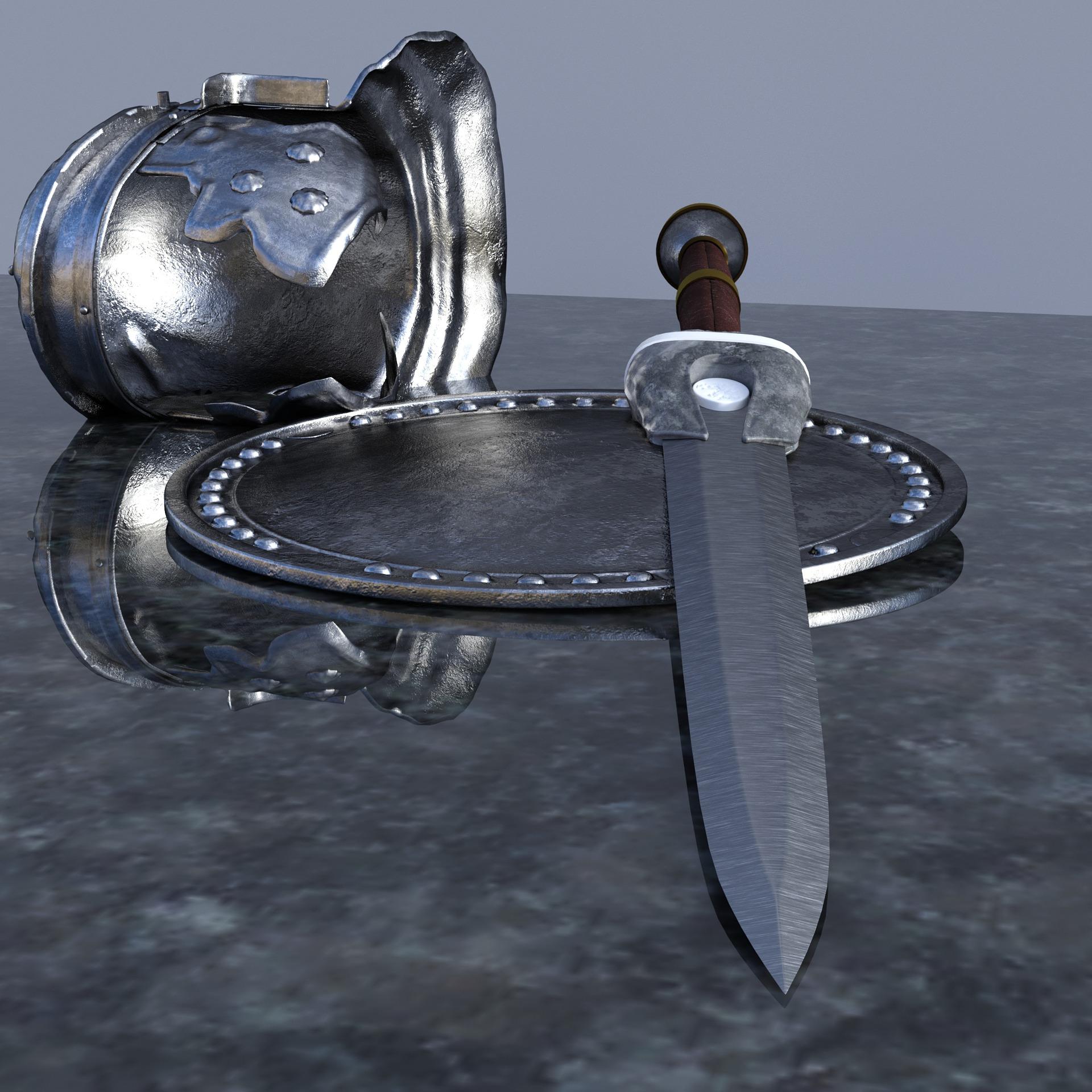 Pixabay - helm, sword, shield