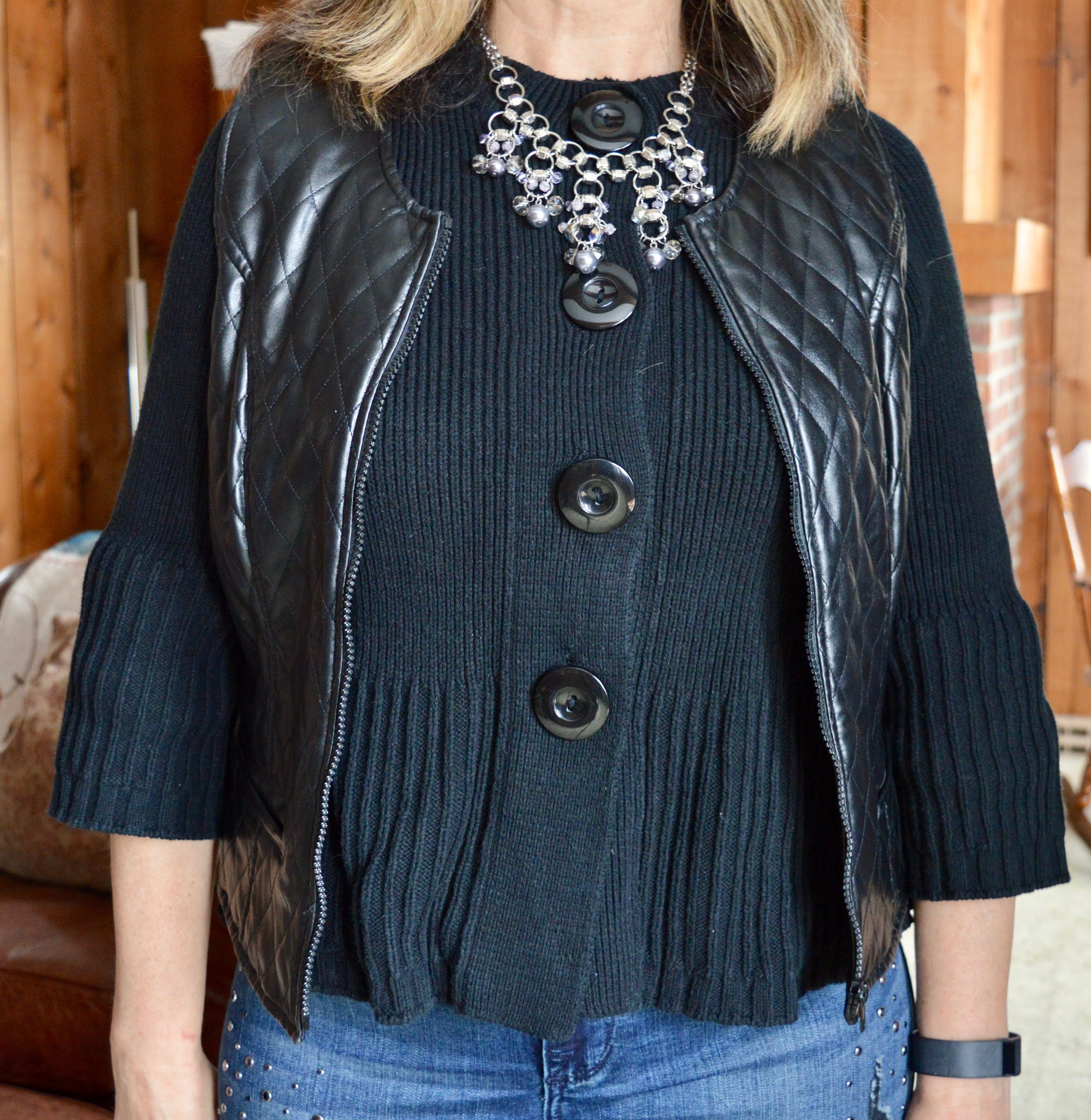 Layering love - wearing a short vest over a short cardi