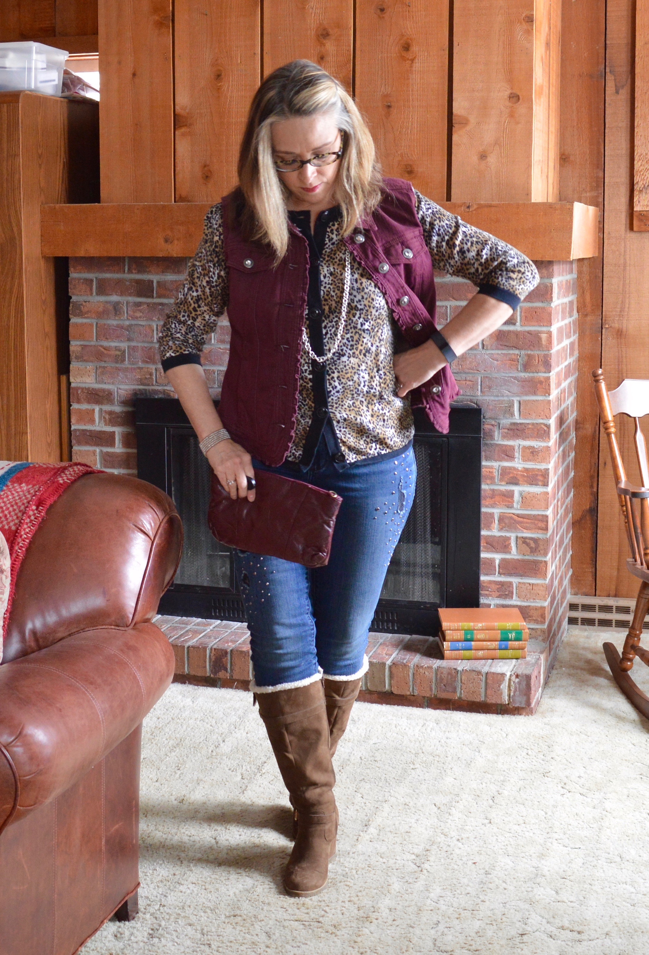 Layering love - wearing a shorter vest over a cardi