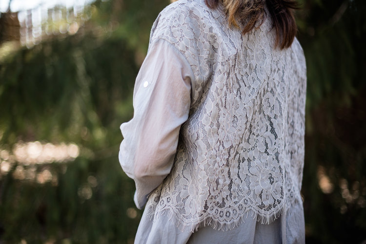 Eva Trends - lace body button up sleeve cardi