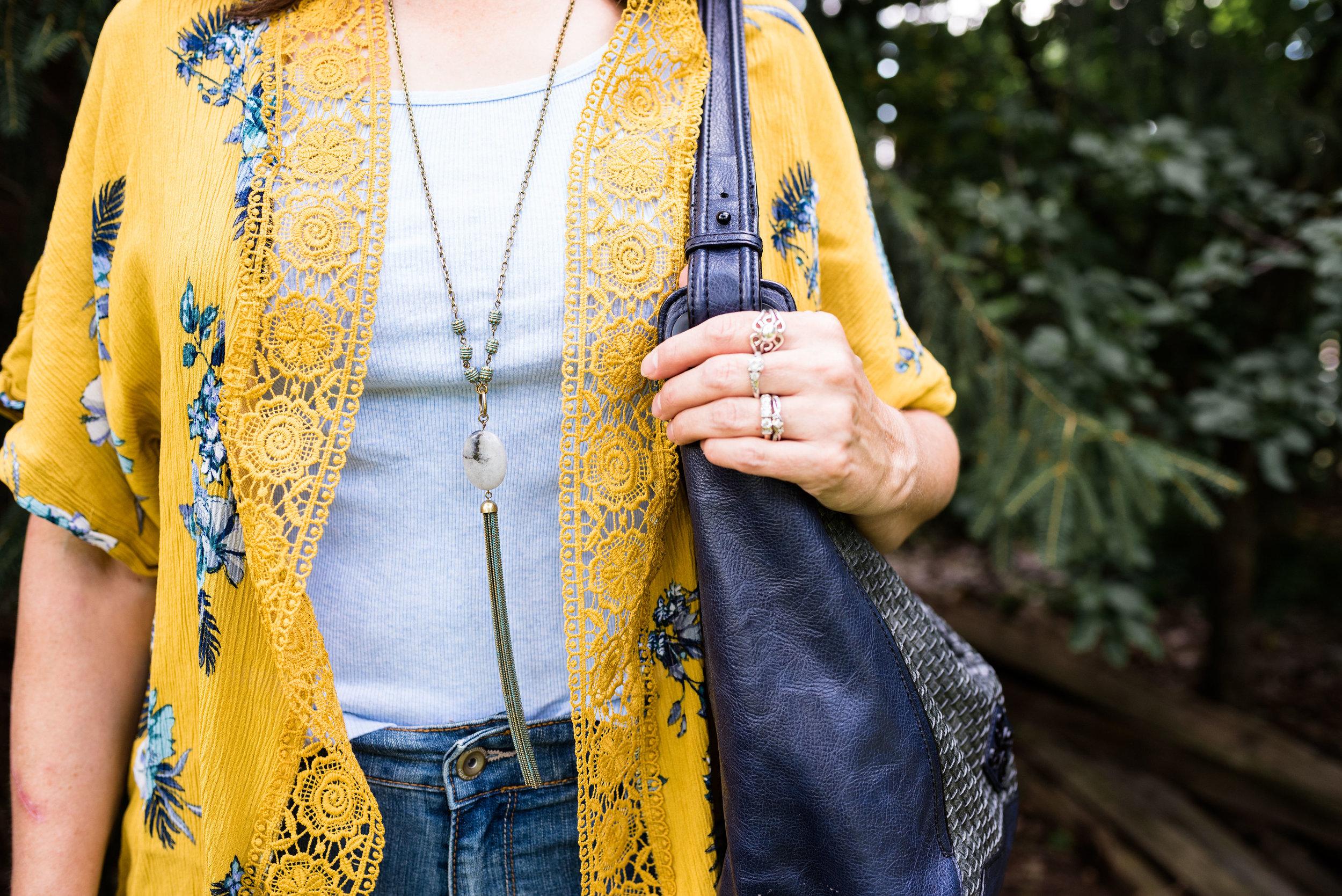 kimono or ruana - yellow short kimono