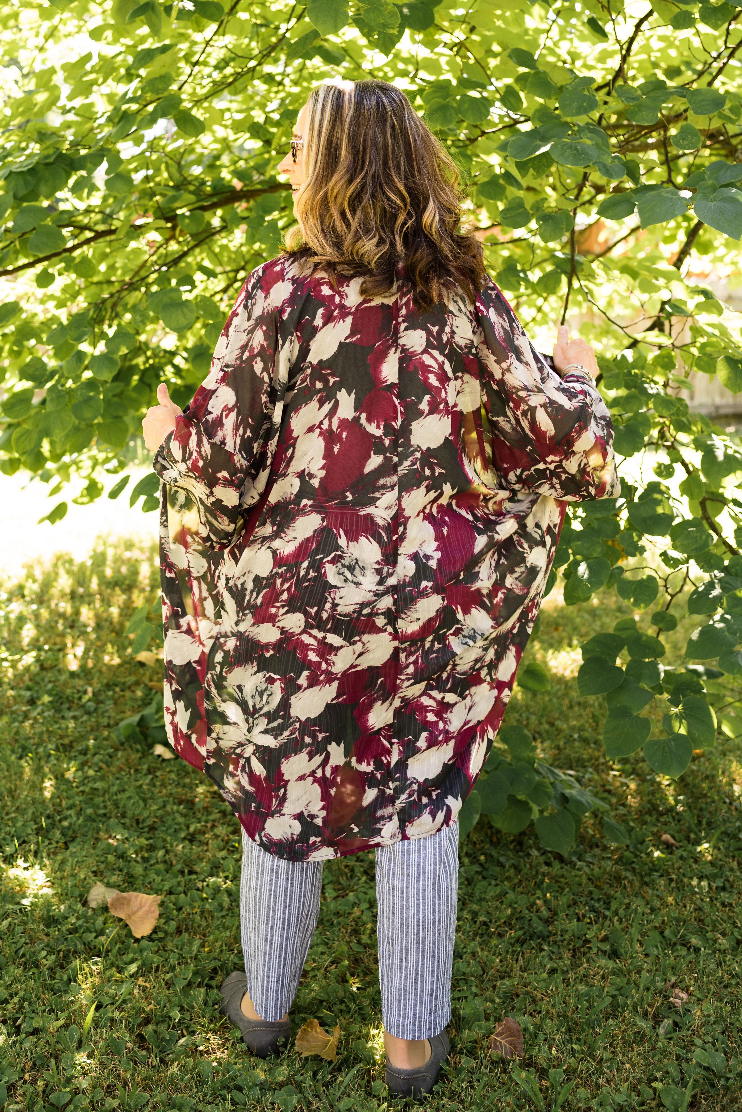 kimono or ruana - black and berry kimono