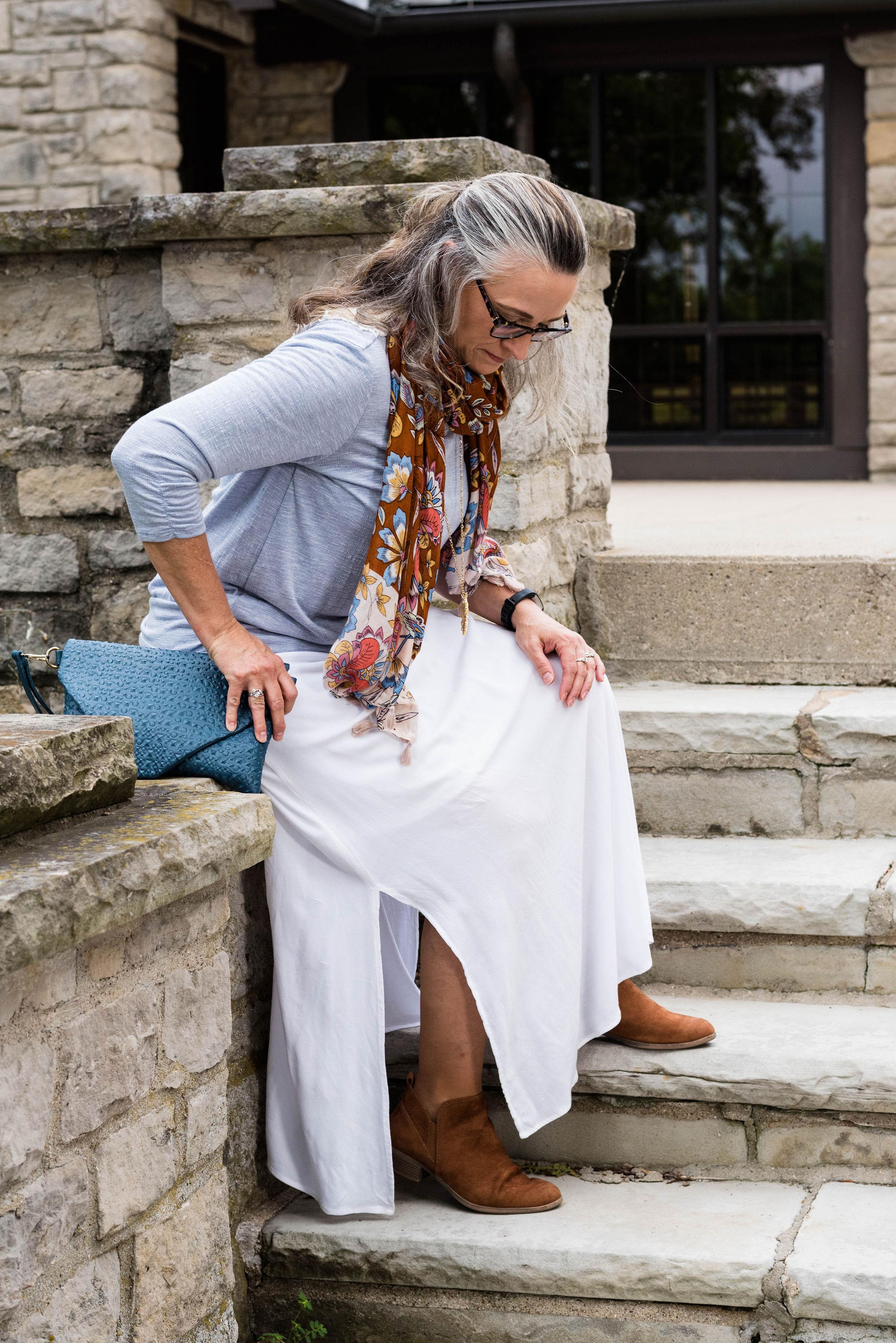 Wearing white - maxi skirt