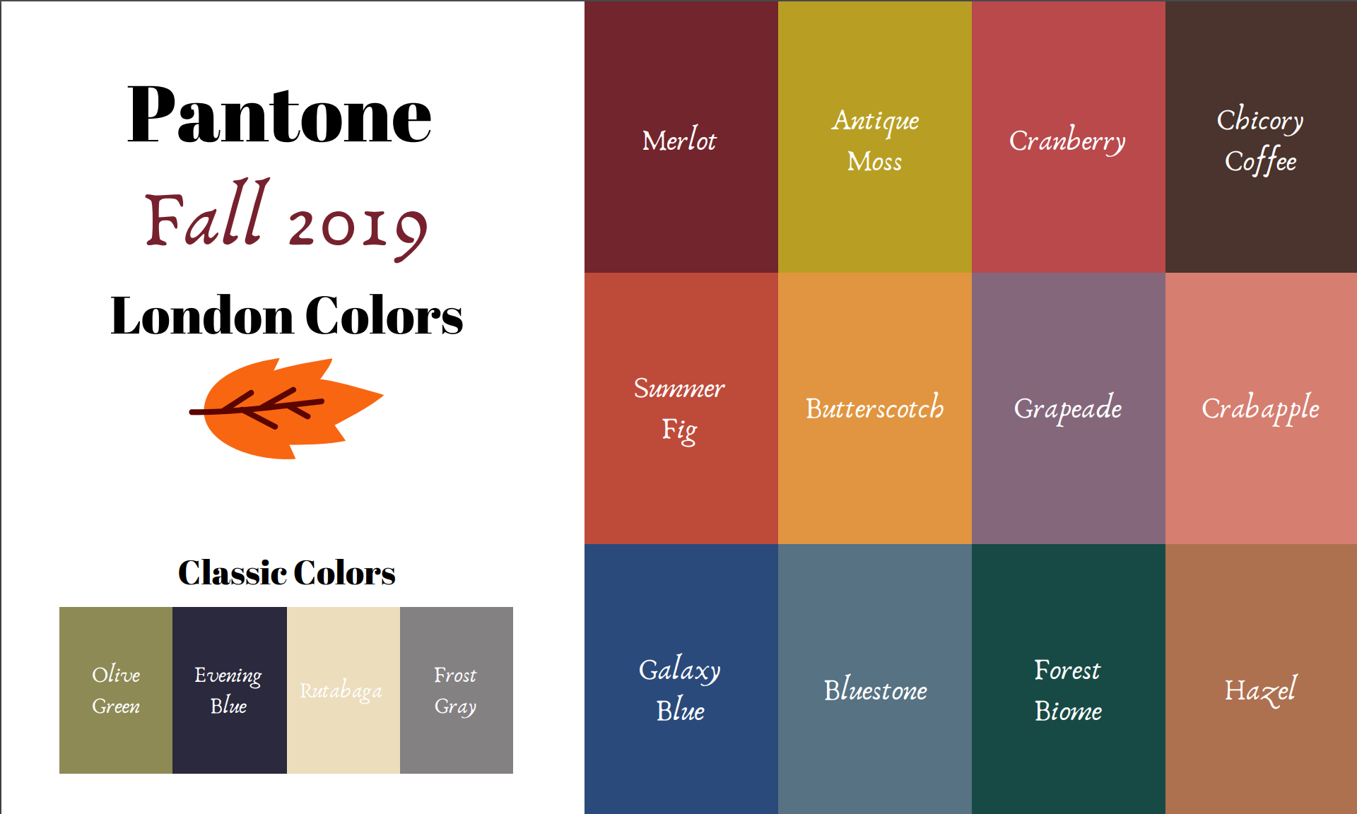 Pantone - Autumn/Winter - 2019 - London Palette