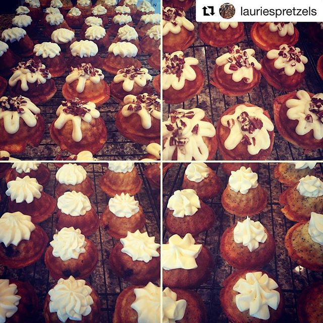 Nothing like a little treat from @lauriespretzels to start the day! #Repost @lauriespretzels ・・・ A trio of treats - cinnamon coffee cake , blueberry, and lemon poppy seed baby bundt cakes ! Perfect with a morning cup of coffee @terrapinvillage bed and breakfast by @lauriespretzels #bundts #cakes #breakfast #sweets #ohio #bedandbreakfast #events