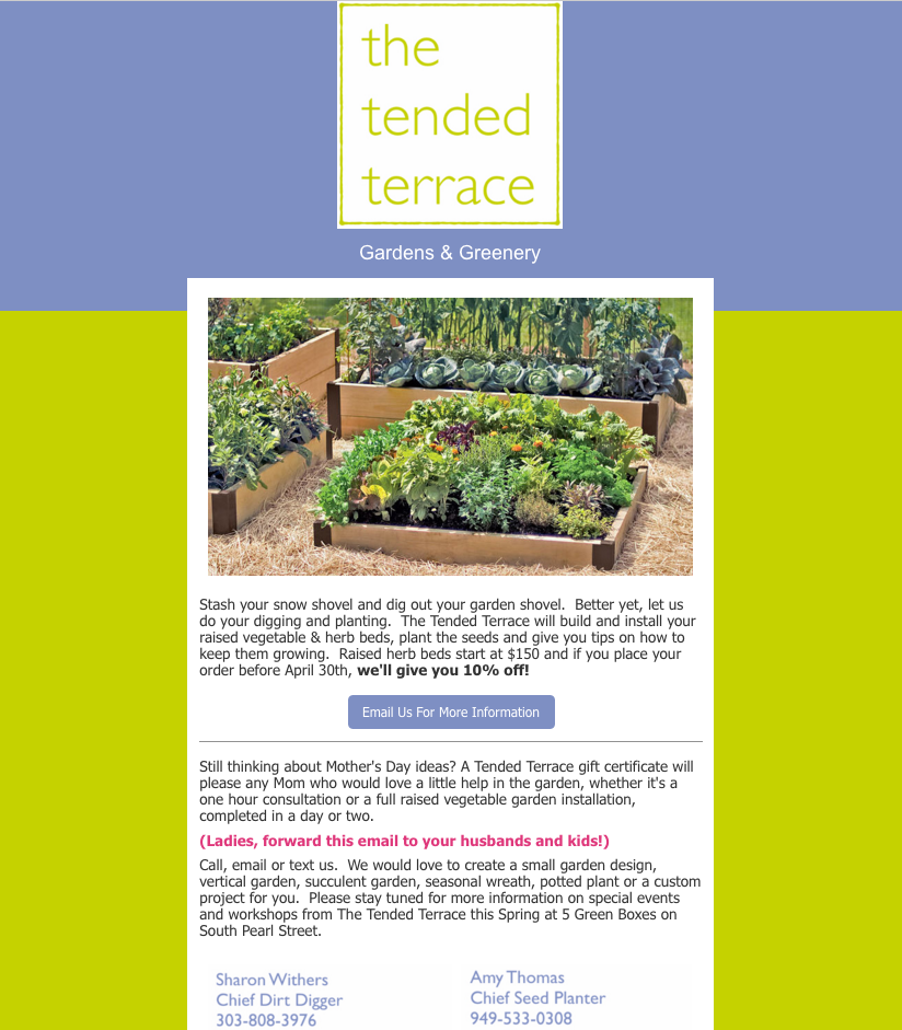 The Tended Terrace Promotional Email