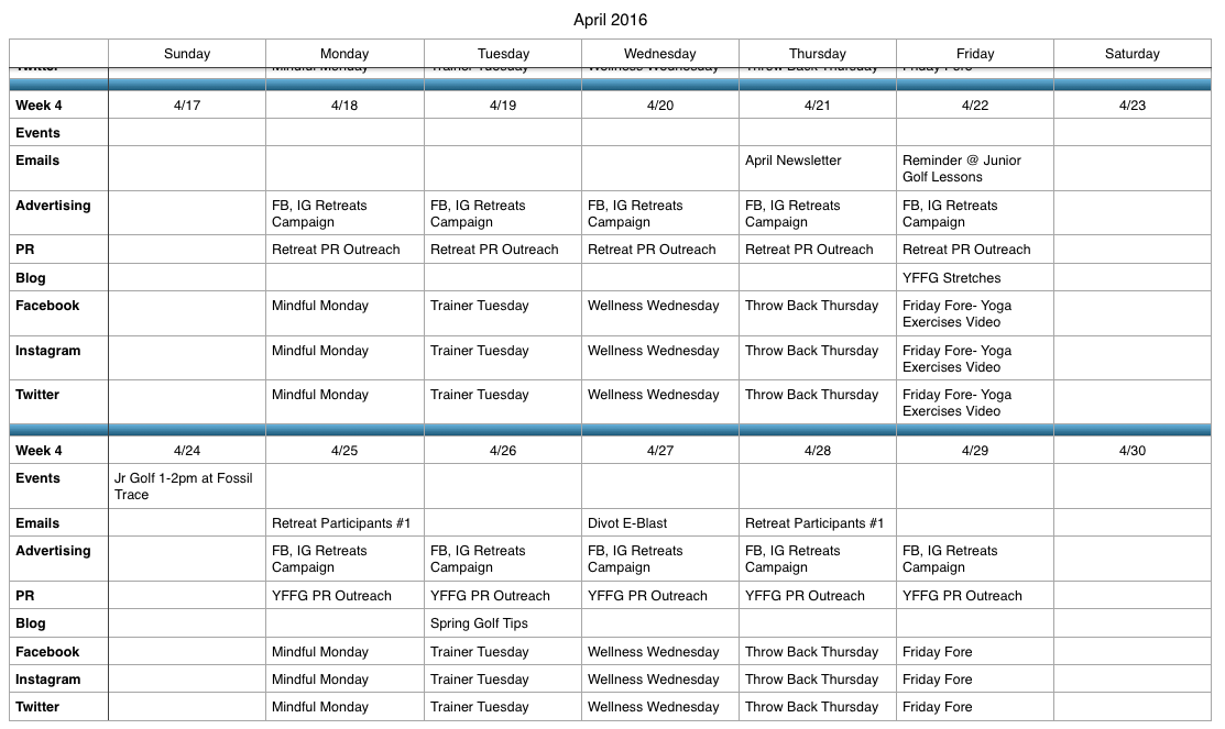 Sample Content Calendar