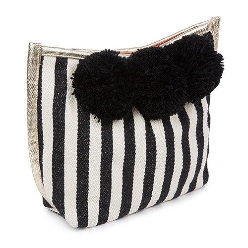 Makeup Pom Pom - Black Stripe with Black Pom Poms.jpg