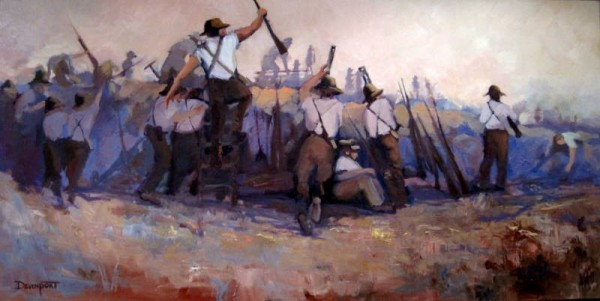 Over We Go Boys, oil, permanent collection Gallipoli Memorial Club