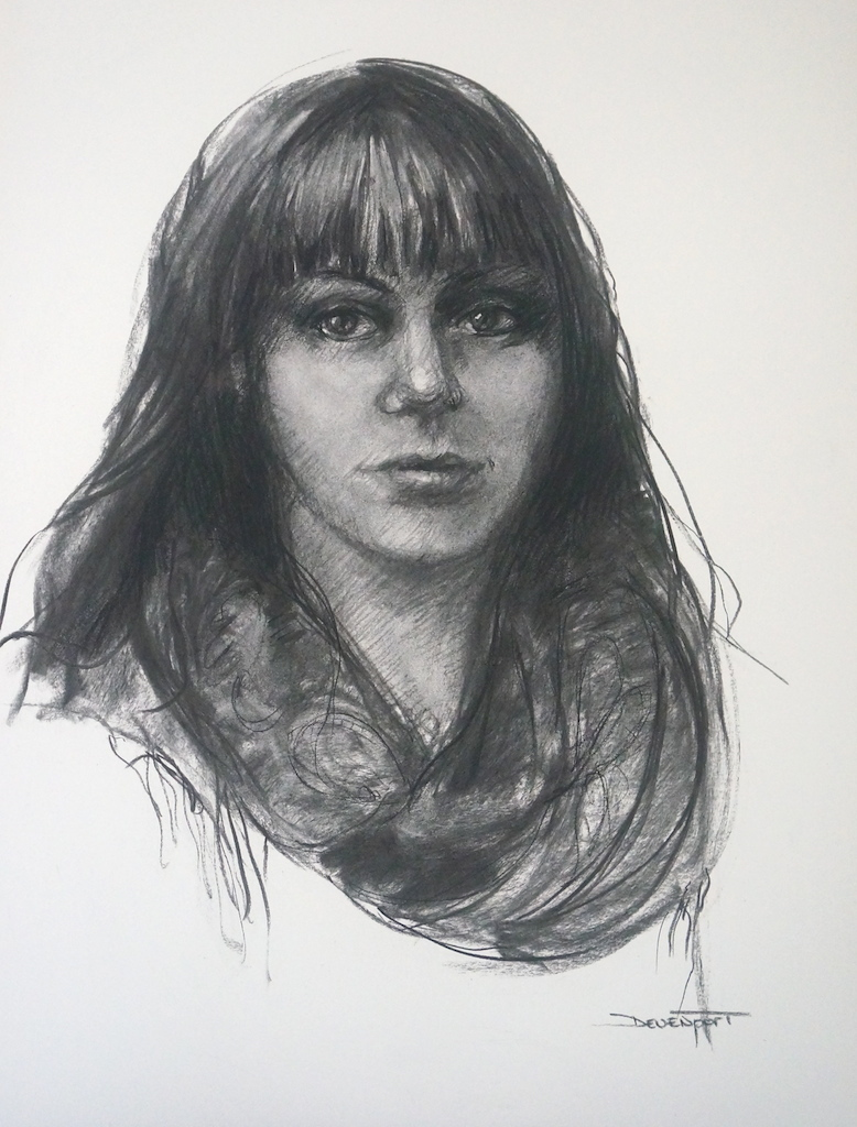 """""""It's Complicated"""", charcoal on A2 Arches"""