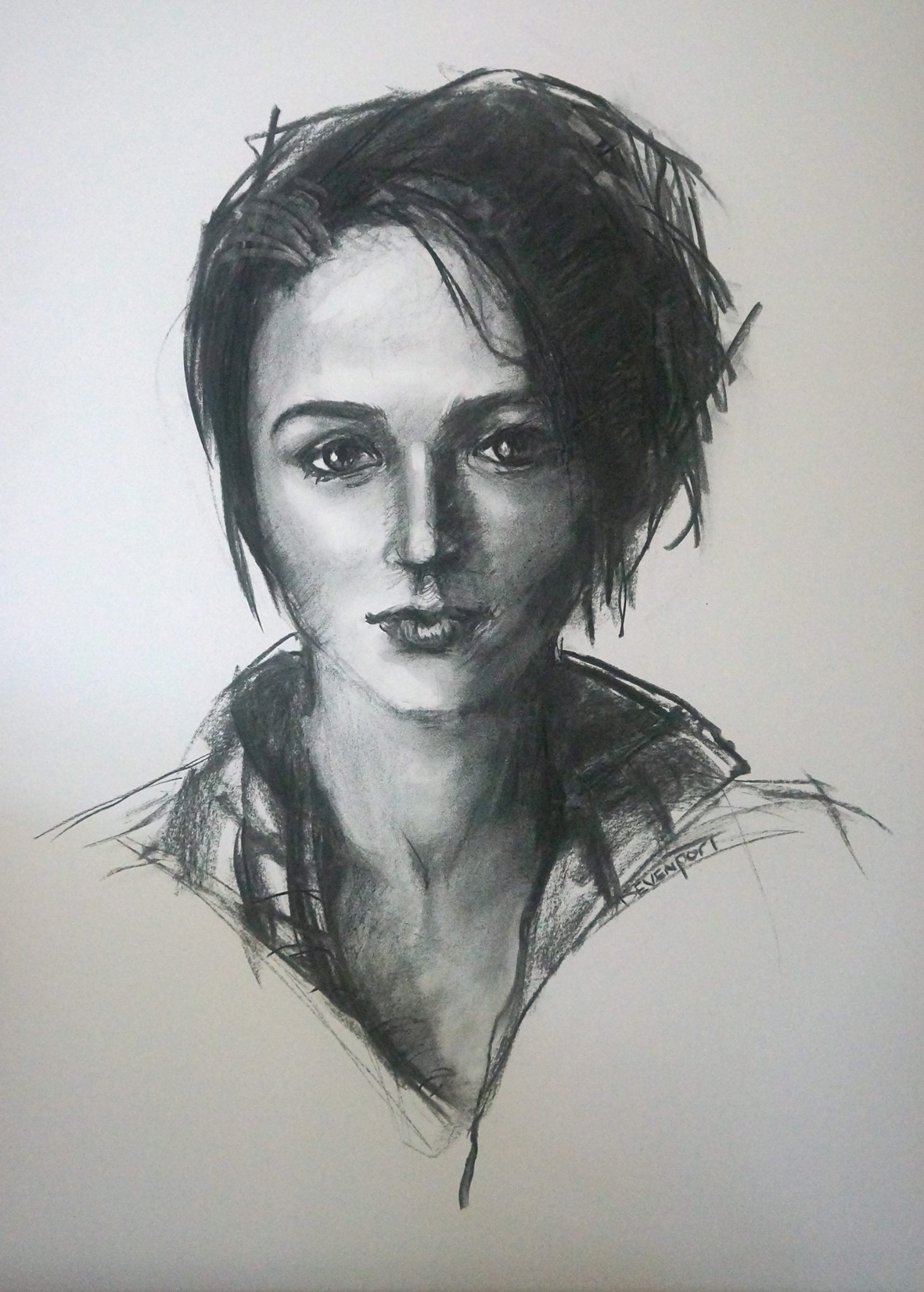 """""""Don't Mess with Me"""", charcoal on A2 Arches"""