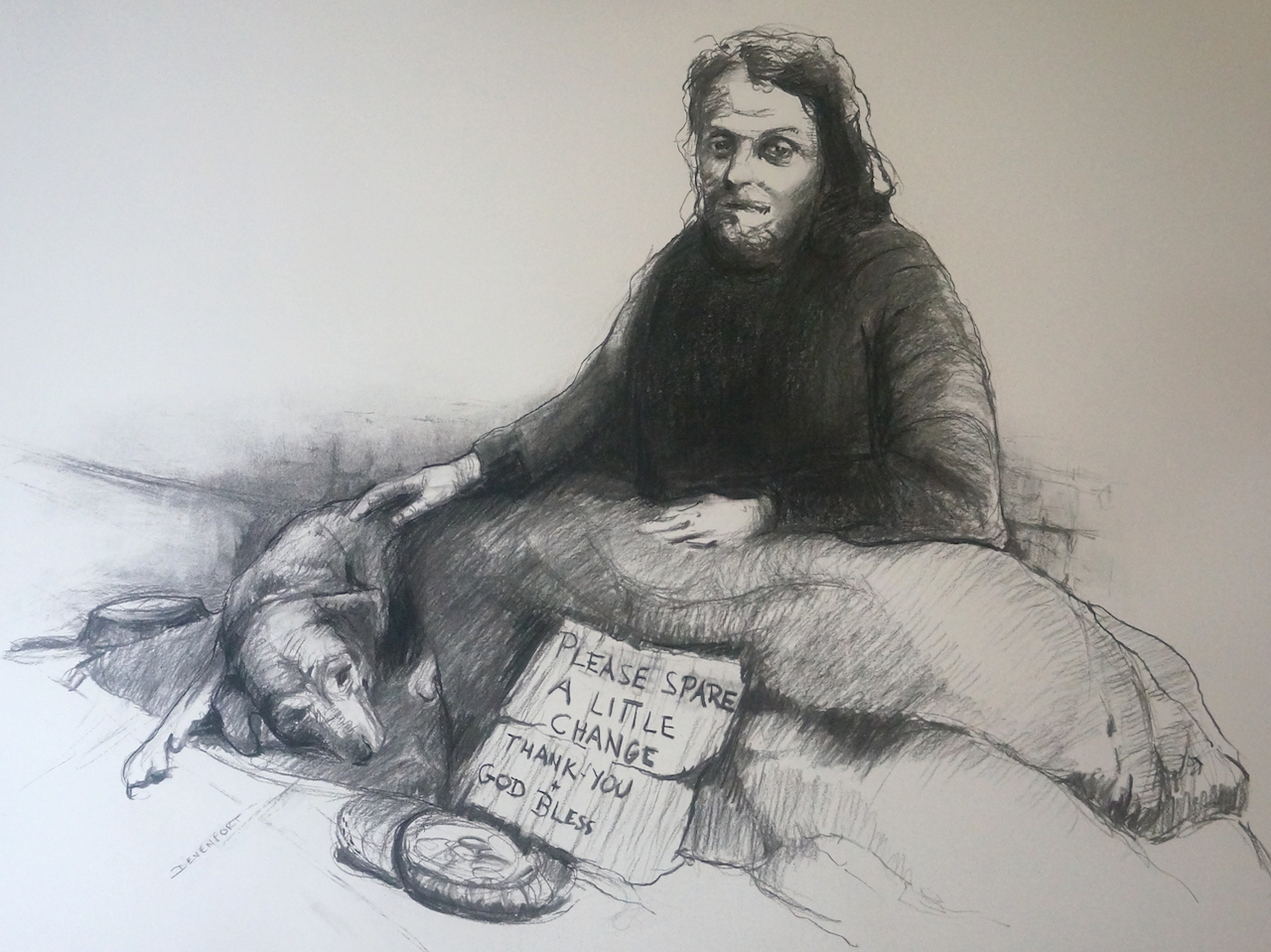 Homeless, charcoal & conte