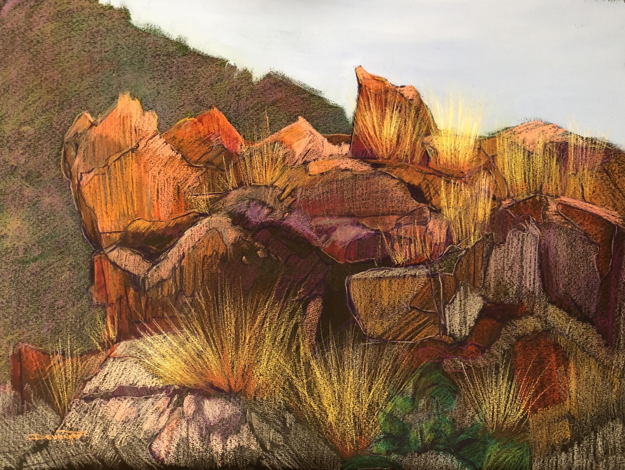 Aussie Rocks (pastel and gouache)
