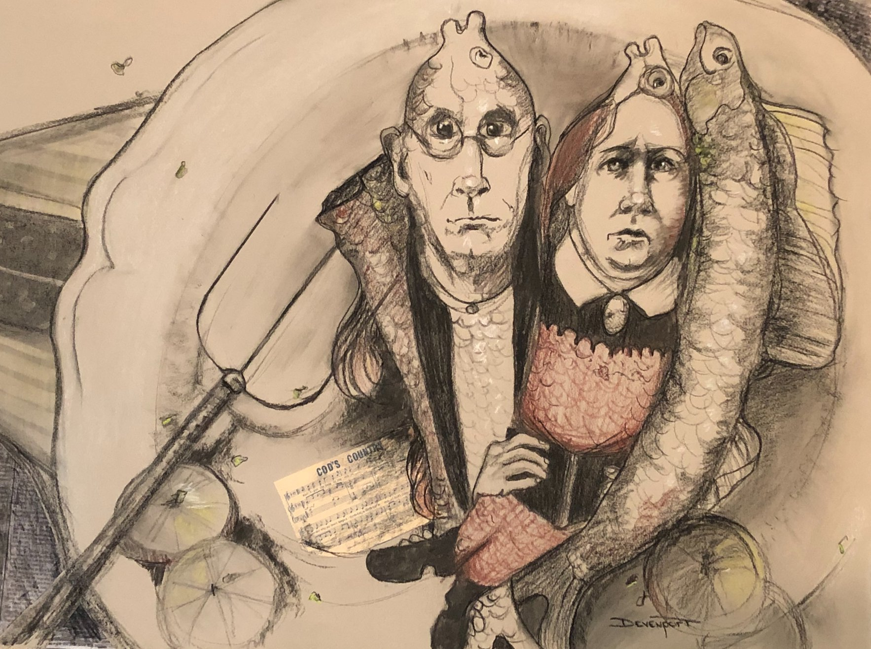 American Codfish is one of my drawings on exhibit (Ref Grant Wood)