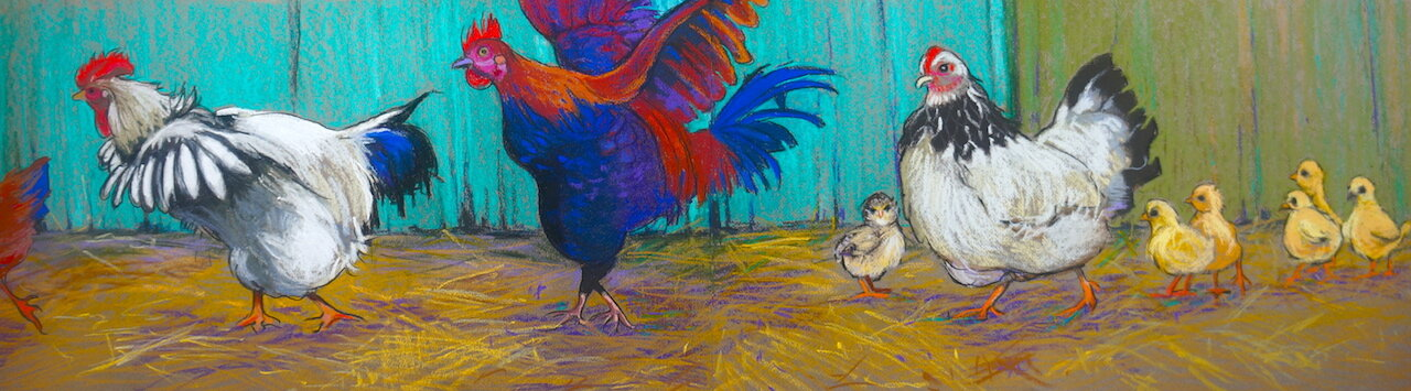 """Chickens on the Run"" is my pastel entry for this prestigious exhibition"
