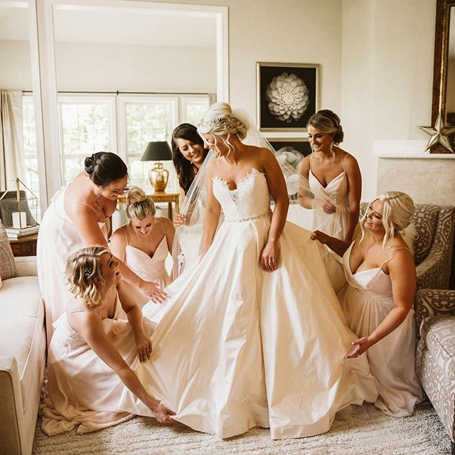 I could've posted a gorgeous photo of Nick and Maggie from Saturday, but I kept going back to this one. They really were the sweetest bridesmaids, taking care of their bride all day long. She has the most wonderful family and friends!  I'll be posting more from their day in my stories shortly, so make sure to check it out!  @pritzlaffevents  @soundbydesign Twins Flowers (New Berlin) @marahjophotography (video) @whitedressbridalboutique  @kleinfeldbridal @barefoottobowtie