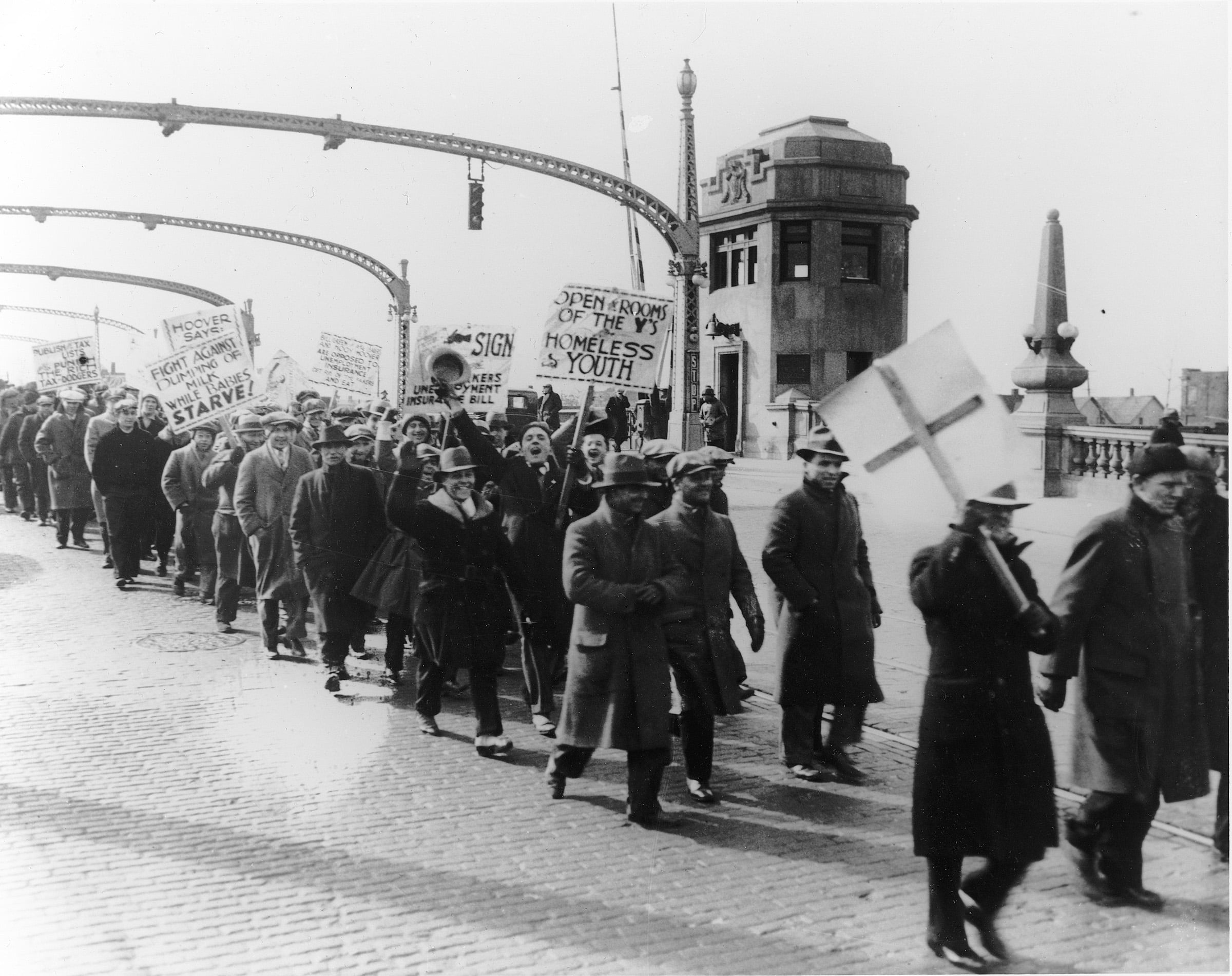 HUNGER MARCHERS head toward Dearborn and a fatal confrontation with police and Ford security men on March 7, 1932.  Photo: Walter Reuther Library, Wayne State University