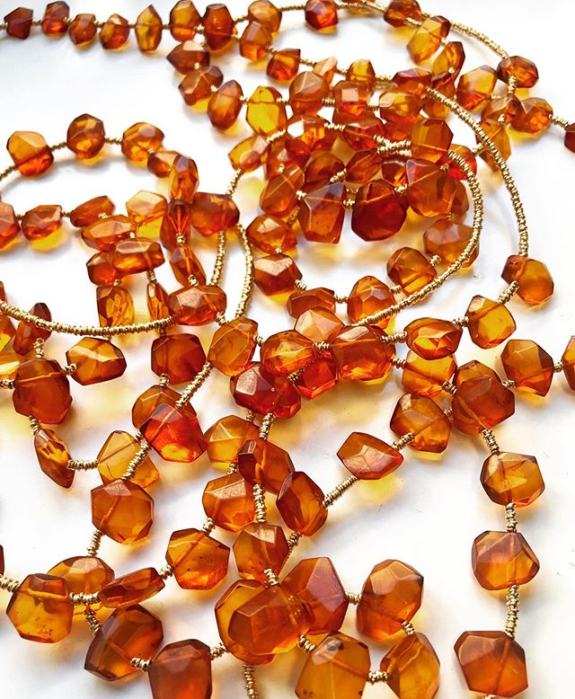 Amber jewellery was the thing in the Scandinavian stone age. Sometimes engraved with secret signs and animals, amber was worn as amulets for protection. Known as the Gold of the North, amber was used in trade and have been found in royal ancient graves as far away as Greece.  These Pigna amber necklaces in-waiting will soon be released into the world and the lucky wearer will have their own talisman glowing from their necks.
