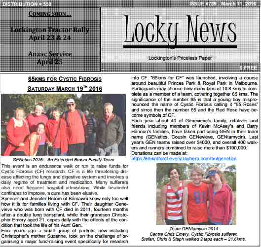 An article in the local Lockington (Locky) newsletter - 2016