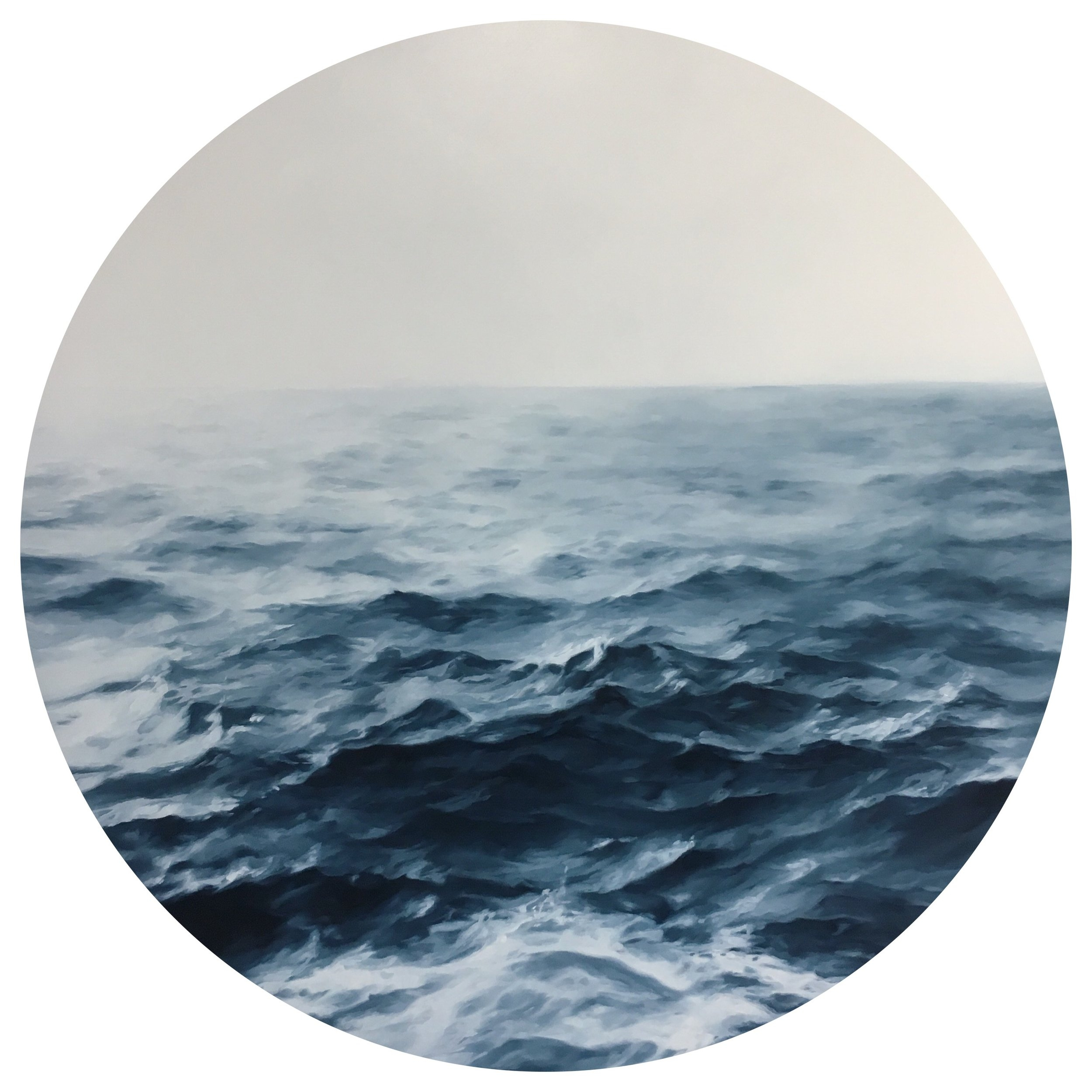 Marine Edith Crosta - London based French painter Marine Edith Crosta is best known for her miniature tondi depicting stormy seascapes. More than just another nautical themed painting, her Lost at Sea series addresses the notions of intimacy and introspection, enhanced by the small format and the locket like frame. A feeling also conveyed through her Wanderer paintings, gazing at the ocean, and more recently through her portraits, where the subject depicted from behind looks away from the viewer, creating a level of mystery and privacy unexpected in portraiture.