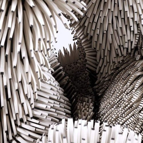 Zemer Peled - Zemer Peled's work examines the beauty and brutality of the natural world. Her sculptural language is formed by her surrounding landscapes and nature, and engages with themes of memories, identity, and place. The association of porcelain with grace, refinement and civilization gets turned on itself when it is broken down into shards and the brutality of its jagged edges is juxtaposed with its insistent fragility. The material becomes both violent and beautiful, hard but breakable. When seen in the organic formations of Peled's structures, a whole for the shards is recreated, this time estranged from its original context of neatness, tradition and cultivation but nonetheless unified by an overall cohesiveness of movement and composition.