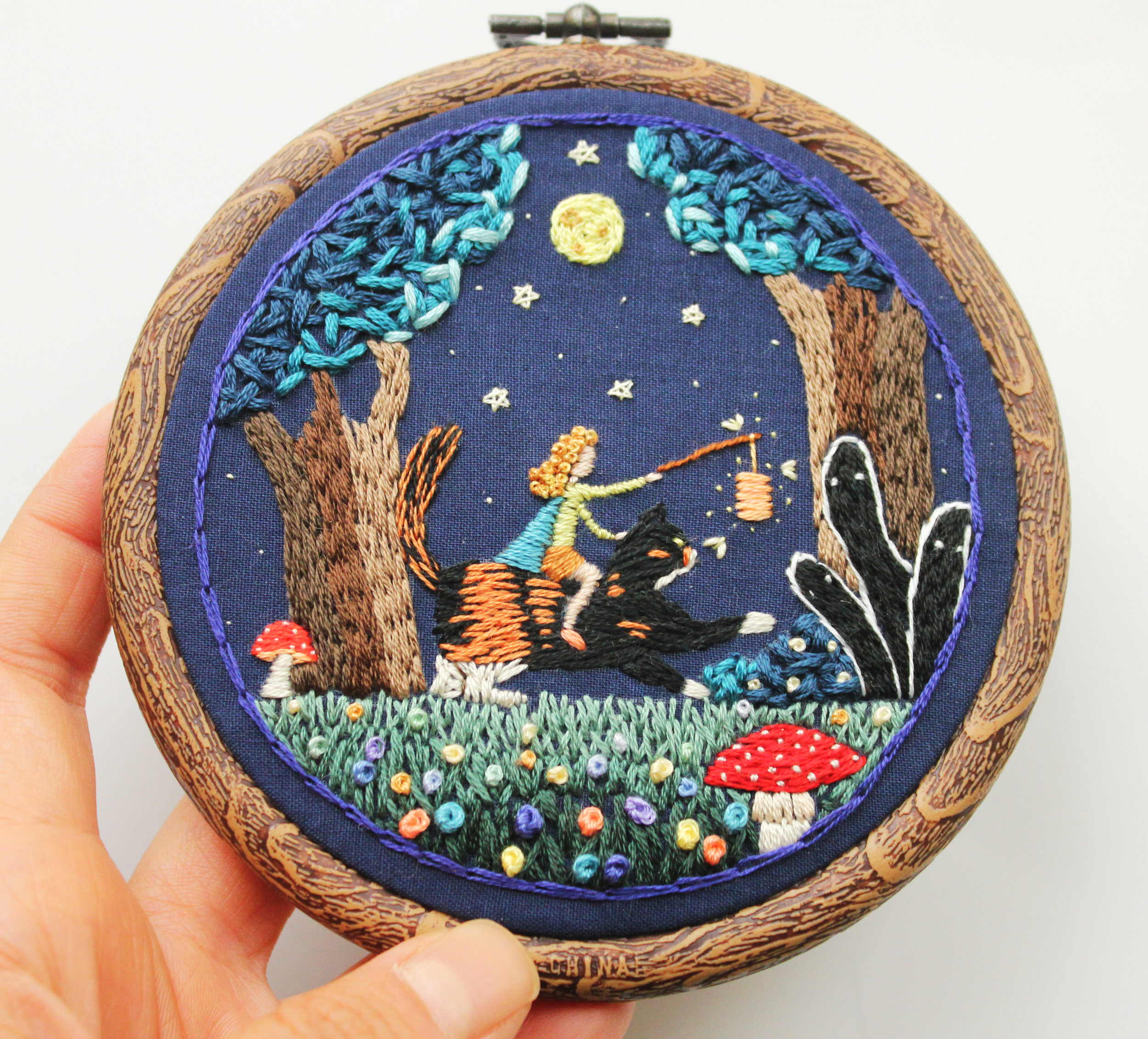 Irem Yazici, A Night in the Haunted Forest, 2016, 4''x4'', Hand stitch.JPG