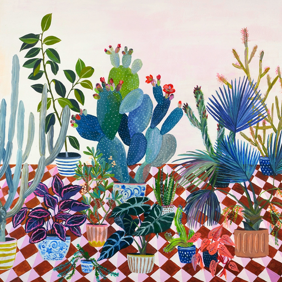 Laura Garcia Serventi - Laura Garcia Serventi is an Argentinian painter and illustrator based in Brooklyn .Her work, deeply inspired by her love of the natural world is also related to the memories of her childhood spent in Buenos Aires.Filled with an exuberant variety of plants, from cacti and succulents to fanned palm trees and orchids in bloom, her paintings are an ode to the botanical world and all its wonders and oddities.Laura's work is always evolving and ranges from large scaled original paintings to affordable art prints, editorial work and collaborations with fashion brands such as Patrizia Pepe and Charles & Keith. She's launching a collection of silk scarves with her designs in summer 2018.