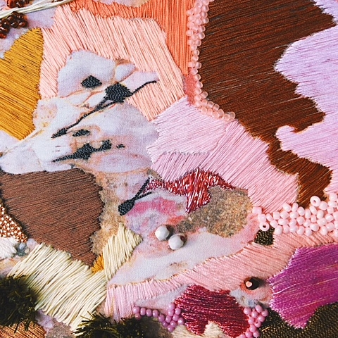 Emily Wright of Salt Stitches - Emily creates abstract embroidery works with a strong focus on natural textures. Her work to date is inspired by the rugged coastline of North Wales, UK. Her works are a direct response to her photography, focusing on geological variations and plant life found near the sea.