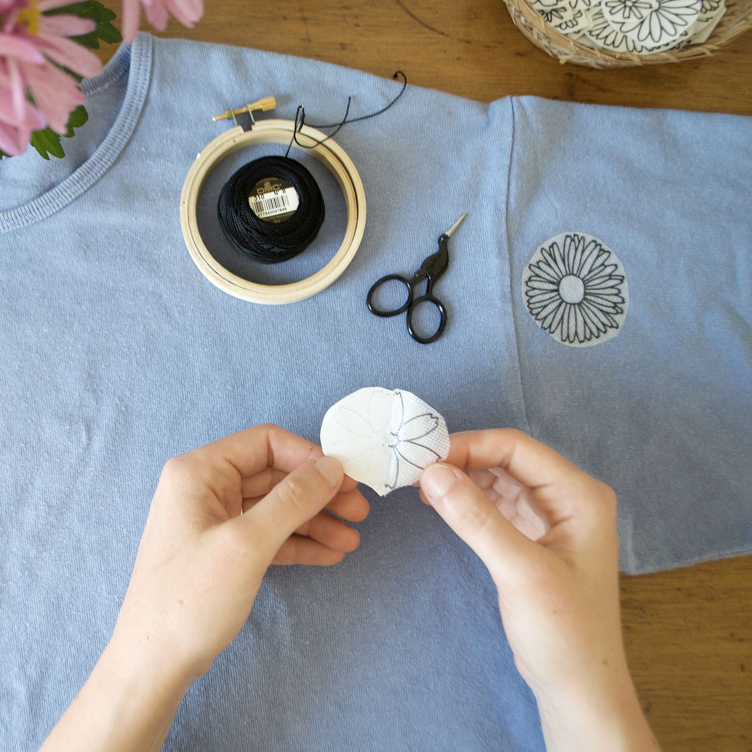 Peel + stick each design directly onto the front side of your fabric.