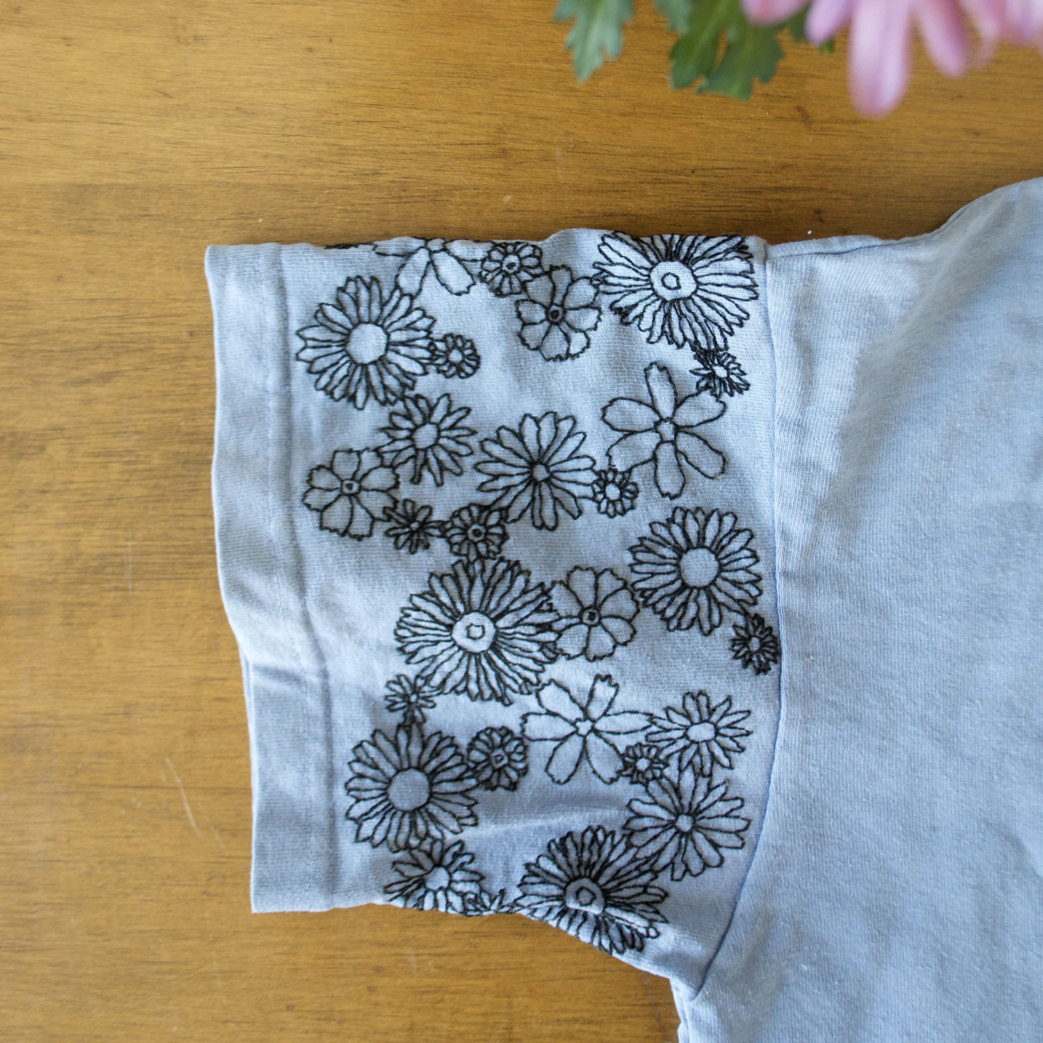 I completely finished the stitching on this sleeve and washed away the transfer paper.